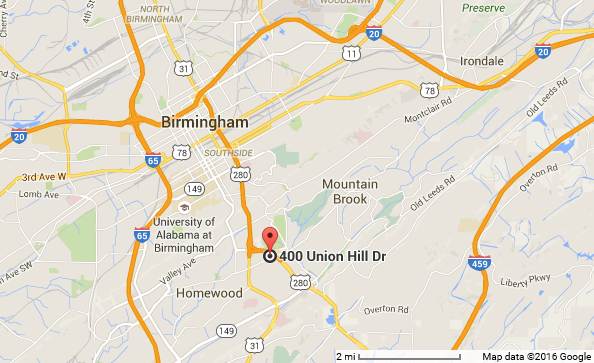 We are conveniently located near Homewood, Mountain Brook, Vestavia Hills in Birmingham Alabama